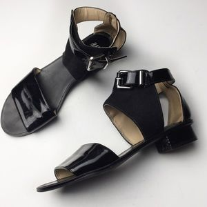 H&M Black Suede & Patent Leather Low Heel Sandals